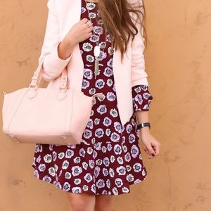 LOFT Floral Flounce Dress in Forbidden Cherry